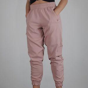 Zara High Rise Joggers Blush Pink Size Small